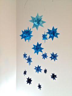 Baby Crib Mobile Hanging Origami Stars -'Milky Way' Dark Blues on Etsy, $67.44