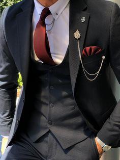 Collection: Spring – Summer 19 Product: Slim-Fit Suit Color Code: Navy Blue Available Size: Suit Mate Mens Fashion Suits, Mens Suits, Blue Slim Fit Suit, Dark Men, Designer Suits For Men, La Mode Masculine, Fitted Suit, Dapper Men, Dapper Gentleman