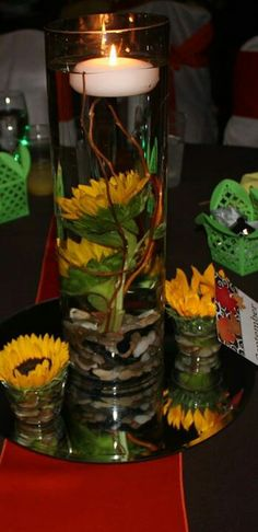 Floating sunflowers - dining table centerpieces
