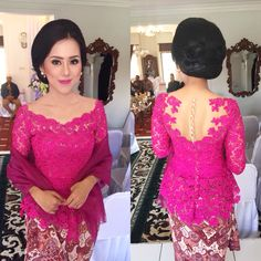 Fushia kebaya for engagement! Kebaya Lace, Batik Kebaya, Kebaya Dress, Batik Dress, Model Kebaya Brokat Modern, Dress Brokat Modern, Kebaya Modern Dress, Kebaya Simple, Indonesian Kebaya