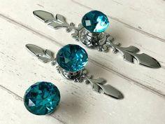 Blue Glass Knobs Crystal Knob Rhinestone Dresser Knobs Drawer | Etsy