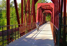 Biking over the Boise River on the old RR bridge.