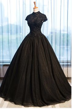 Black Tulle Cap Sleeve Long High Neck Beads Ball Gown Open Back Prom Dresses, 660