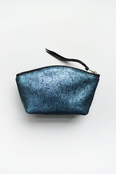 Blue Metallic Bag, Small Leather Pouch,  Crackle Metallic Cosmetic Pouch , Leather Change Purse, Wallet Fashion Evening Bag