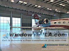Window Tint LA Installed Huper Optik Dusted Crystal Window Film in this plane hangar.