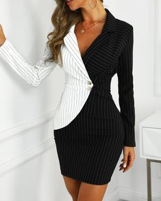 Contrast Color Striped Insert Blazer Dress We Miss Moda is a leading Women's Clothing Store. Offering the newest Fashion and Trending Styles. Trend Fashion, Womens Fashion, Ladies Fashion, Style Fashion, Fashion 2017, Runway Fashion, Bodycon Dress With Sleeves, Belted Dress, Peplum