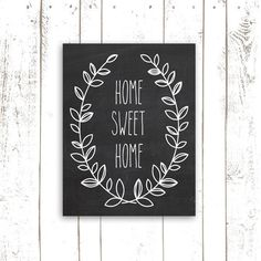 Home Sweet Home Chalkboard Art Print by MooseberryPrintShop, $18.00