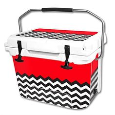 MightySkins Protective Vinyl Skin Decal Wrap for RTIC 20 qt Cooler cover sticker Red Chevron *** Click image to review more details.