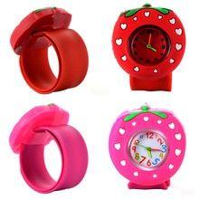Children Slap Watch 3D Cartoon Strawberry Quartz Wristwatch Fashion Lovely Silicone Band Kids Watch Cute Baby Clock Relogio(China)