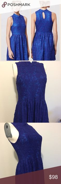 Anthropologie blue lace dress Beautiful blue lace dress by Anthropologie in-house brand, Moulinette Soers. Open back button closure, pull over design. Used once on a tv show, looks brand new! Anthropologie Dresses