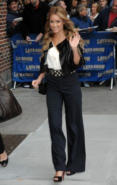 Where can I get Lauren Conrad's white shirt, black leather jacket, black pants, and black shoes?
