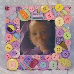 Sweet Treats Embellished Button Picture Frame #EasyPin