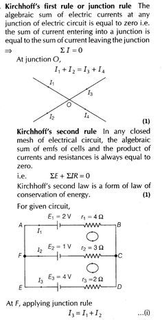 Current Electricity Important Questions for CBSE Class 12 Physics Kirchhoff's Laws and Electric Devices Physics Lessons, Learn Physics, Basic Physics, Physics Formulas, Physics Notes, Chemistry Notes, Physics And Mathematics, Physics Revision, Physics Concepts