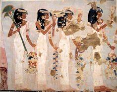 Femmes avec des bouquets et des sistres , tombe de Menna. Périod 18ème dynastie, règne de Thoutmosis IV et Amenhotep III, vers 1400-1352 av. J.C., Haute-Egypte