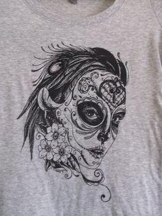 Sugar Skull Girl Woman Tshirt by emmi009 on Etsy, $25.00