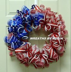 Excited to share this item from my shop: RWB Tube Wreath, Patriotic Wreaths Patriotic Wreath, Patriotic Crafts, 4th Of July Wreath, Spring Door Wreaths, Deco Mesh Wreaths, Summer Wreath, Holiday Wreaths, Holiday Crafts, Wreath Crafts