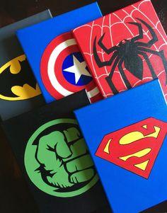 Set of 5 Superhero wall art Handmade Super hero canvas paint: Superhero Boys Room, Superhero Canvas, Superhero Wall Art, Spiderman Wall Art, Batman Spiderman, Boy Decor, Boys Room Decor, Bedroom Boys, Bedroom Decor