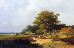 Farmer with herd on countryroad - Johan Hendrik Weissenbruch