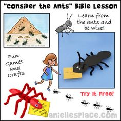 """Free """"Consider the Ants"""" Sunday School lesson from www.daniellesplace.com. This lessons teaches that we can learn from the ants and become wise.  The ants do their work even when they don't have someone telling them what to do or checking up on them. The lessons comes with lots of crafts, review games and fun activities."""
