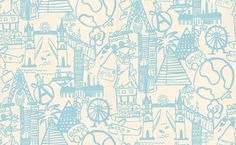 Panorama - Prestigious Wallpapers - A fun kids wallcovering with drawings of various places and objects. Showing in powder blue on a off white background - other colours are available. Please request a sample for true colour match. True Colors, Colours, Colour Match, Downstairs Loo, Bathroom Kids, Room Wallpaper, Pattern Wallpaper, Kids Bedroom, Cute Kids