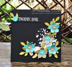"handmade card by Amanda B: Popping Petals ... square format ... black card ... white embossed sentiment and grunge splats ... die cut flowers in bright aqua with pale green leaves ... luv the look! ... Stampin""Up!"