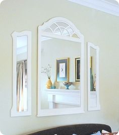 great before and after. take an old mirror from a dresser, paint it, separate it, hang it and you have a great wall display!