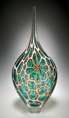 **Lime/Aqua/Hyacinth Resistenza: David Patchen: Art Glass Vessel - Artful Home