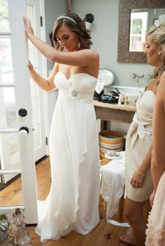 Also very cute...cheap  Simple Sweetheart Wedding Dress Floor Length Strapless Empire Wedding Bridesmaid Dress with Train. $125.00, via Etsy.