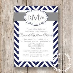 Chevron Monogram /// Navy Blue and Gray /// Wedding by DBNGraphics, $12.00
