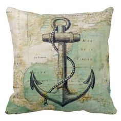 Antique Nautical Map & Anchor Pillow