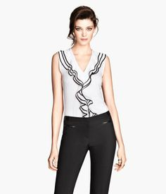 white ruffled top with black trim $18 H&M US