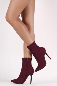 Burgundy Elastane Pointy Toe Stiletto Booties, C$56.99