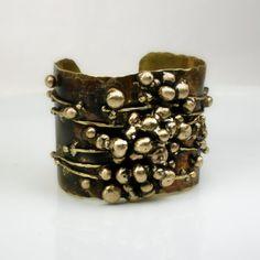 Cuff Bracelet Wide Bracelet Brass Cuff Gold Cuff by jihidesigns