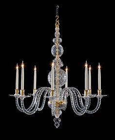 "8 light Thornham Hall style chandelier Based on our popular reproduction of the Thornham Hall chandelier, this version has 8 fully cut branches with cut drip pans. It is manufactured in our ""Georgian Grey"" tinted lead crystal, all hand cut and polished in our own workshops. The solid brass metalwork is English gilded but can be changed to silver plate or any other finish."