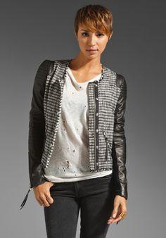 Black Tweed and Leather Jacket