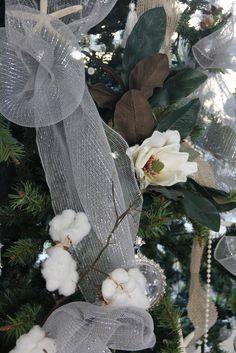 Southern Christmas tree: cotton, magnolias, pearls, starfish, SSM: Holiday Decorations!