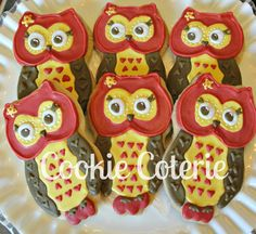 Owl Cookies Decorated Sugar Cookies Birthday Favors Baby Shower Cookie Favors. Chi Omega Owls $18.50, via Etsy.