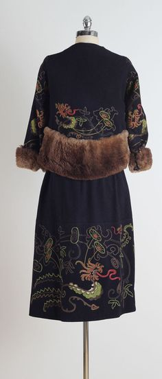 Vintage 1920's Embroidered Wool Suit