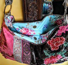 Large boho bag in grey velvet with floral applique