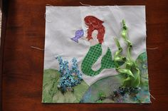 My Little Mermaid Quilt Block by spinningspoolsquilts, via Flickr