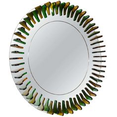 Green and Amber Glass Girasole Style Mirror For Sale at 1stdibs