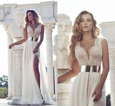 Julie Vino 2014 Fashion Sheath Wedding Dresses Cap Sleeve Gown Featuring With Plunging Neck Beaded Bodice Thigh-High Slit Gown US $179.00