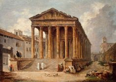 Maria Lopes e Artes: Ancient Temple: The ''Maison Carree'' at Nimes Architecture Antique, Architecture Drawings, Ancient Greek Art, Ancient Rome, Ancient Ruins, Rome Antique, Hermitage Museum, Ancient Buildings, Old Paintings