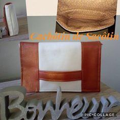 Pochette Cachôtin en marron et blanc cousu par Natacha - Patron Sacôtin