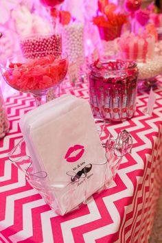 Fun candy buffett! Satin Chevron table overlay-Fuchsia www.cvlinens.com Daily Wedding Inspiration: Divine Wedding Reception Ideas