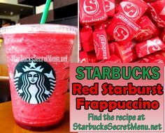 Starbucks Red Starburst Frappuccino! Try your favorite candy in Frappuccino form! Recipe here: http://starbuckssecretmenu.net/starbucks-secret-menu-the-red-starburst/