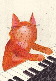 Ginger cat playin piano card    Luka Luka