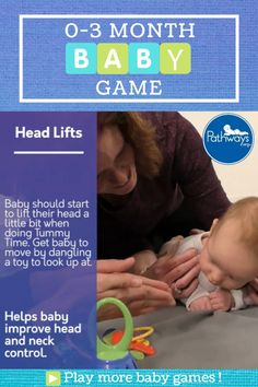 Help improve baby's neck and head control during #TummyTime! Try dangling a toy in front of baby to get them to look up! By 1 month of age, baby will attempt to lift their head up during Tummy Time – even if it's just for a second! Play more newborn baby games by heading over to Pathways.org! #pediatricpt #babygames #motorskills #physicaltherapy #babyactivities #babyplay #motordevelopment #learningthroughplay #babyactivities #newborn #newbornbaby #babymilestones #2monthsold #3monthsold See… Baby Learning Activities, Infant Activities, Baby Life Hacks, Baby Care Tips, Montessori Baby, Baby Sensory, Baby Development, Newborn Care, Baby Games