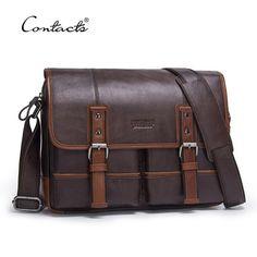 9607f1d447c2 CONTACT S Fashion Cowhide Genuine Leather Crossbody Bag For Men Shoulder  Bags Business Men s Briefcase Handbags Messenger