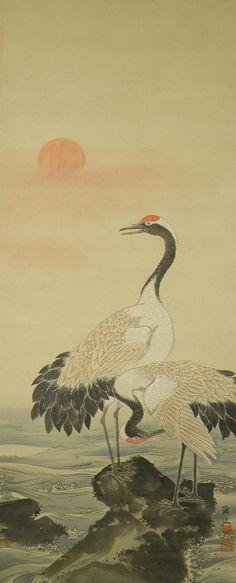 Cranes at shore. Japanese Crane, Chinese Artwork, Herons, Japanese Prints, Japan Art, Animal Paintings, Love Art, Oriental, Arts And Crafts